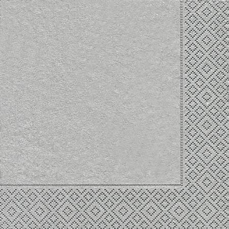 Partytischdecke.de   Servietten 33x33 Uni silber 20 Stück