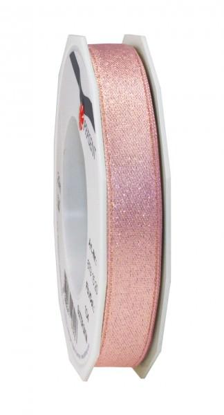 Partytischdecke.de | Satinband Glitter 15 mm x 20 m altrosa-gold