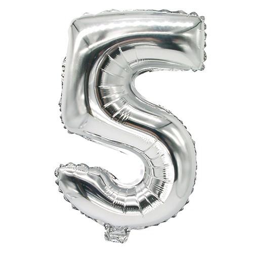 Partytischdecke.de | Folienluftballon 35 cm x 20 cm silber FÜNF
