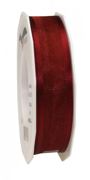 Satin-Organza Band 25 mm x 25 m bordeaux 1 Rolle
