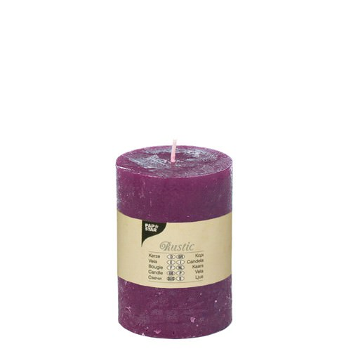 Partytischdecke.de | Rustik Kerze lila Ø 7 cm x Höhe