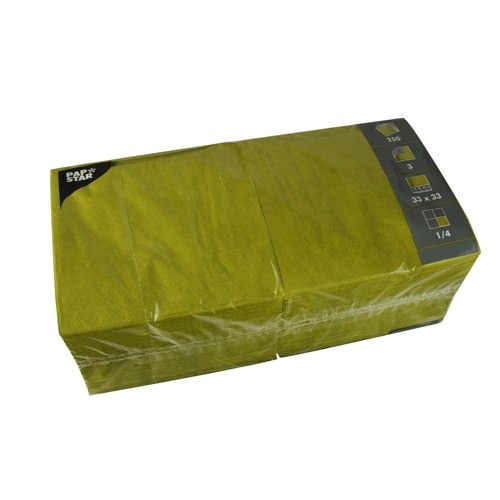 Partytischdecke.de   Servietten 33x33 Color olivgrün 250 Stück 3-lagig