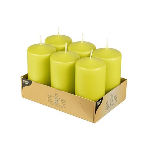 Partytischdecke.de | Stumpenkerze Ø 6x11,5 cm kiwi ca, 24 h Brenndauer