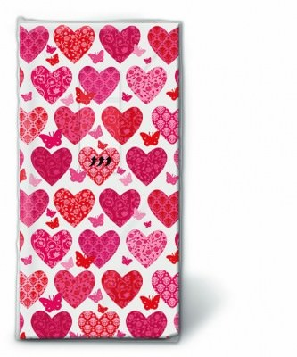 Motiv Taschentücher Päckchen Hearts, hearts, hearts 10 Stück
