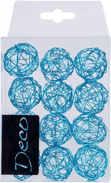 Drahtbälle 30 mm hellblau in Klarsichtbox 12 Stück