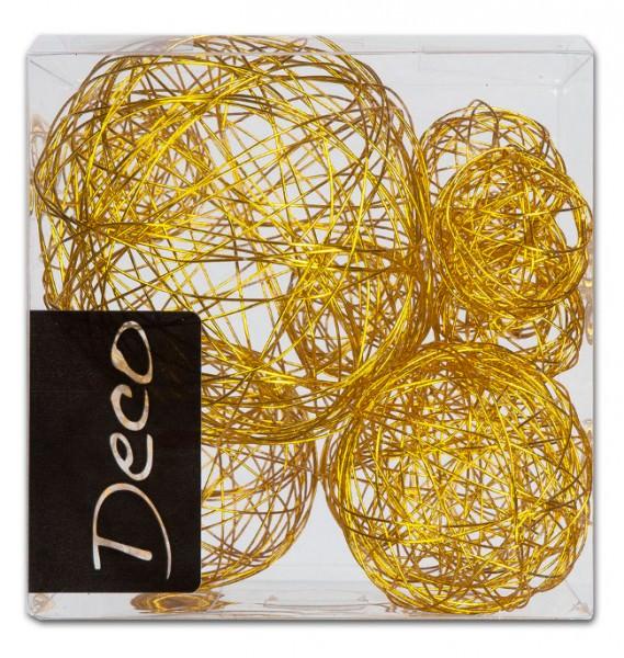 Partytischdecke.de | Drahtbälle Set 10 tlg. gold in Klarsichtbox