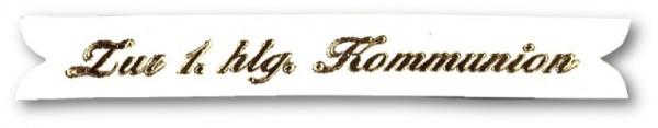 Verzierwachs Spruchband z. 1. hl. Kommunion 90x12 mm weiss-gold