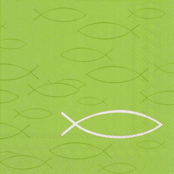 Partytischdecke.de | IHR Serviette 33x33 PEACEFUL FISH light green