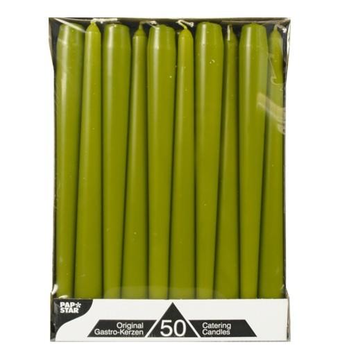 Partytischdecke.de | Spitzkerze olivegrün 7h 50er Pack