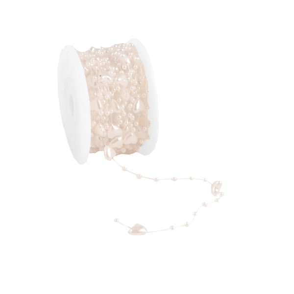 Partytischdecke.de | Perlenband Heart 10 mm x 10 m creme