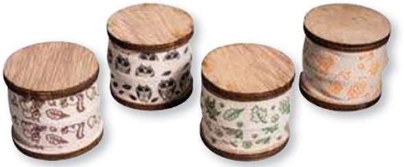 4er Set Baumwollbänder Blätter in 4 Farben à 1,5 cm x 3 m