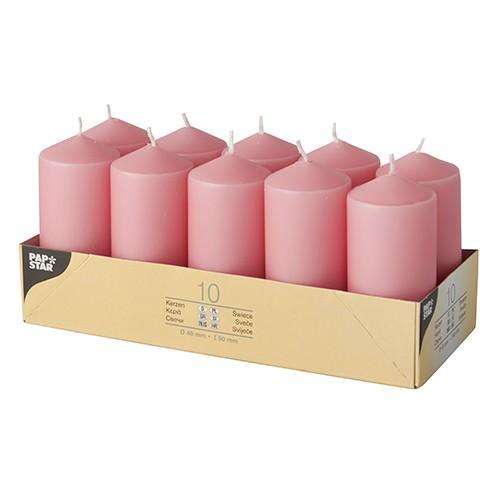 Stumpenkerzen Ø 4 x 9 Altrosa 10er Pack