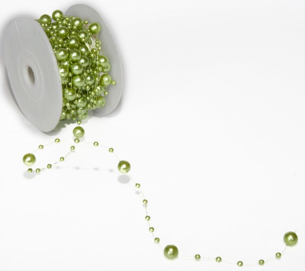Perlenband 8 mm x 10 m avocadogrün 1 Rolle