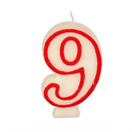 Partytischdecke.de | Zahlenkerze 7,3 cm | 9 | Clown 1 Stück