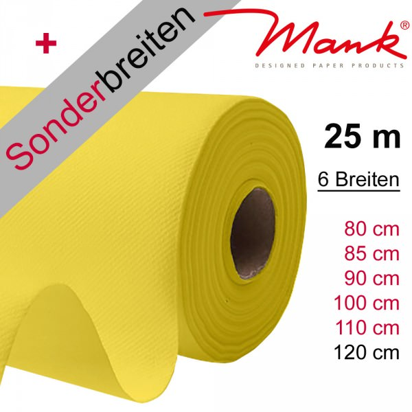 Partytischdecke.de | Tischdecke Mank Linclass gelb 25 m x Breite