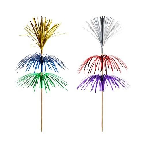Partytischdecke.de | Deko-Picker 18 cm farbig sortiert  | Feuerwerk |  100 Stück