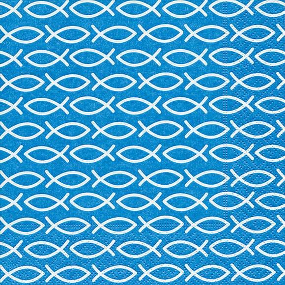 Partytischdecke.de | Servietten 33x33 blau, Fische weiss