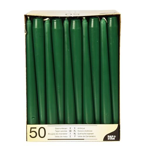 Partytischdecke.de | Spitzkerze dunkelgrün 7h 50er Pack