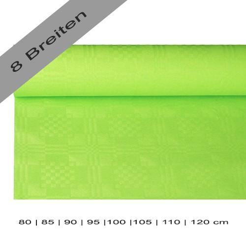Partytischdecke.de | Papiertischdecke Damastprägung 8 lfm limonengrün
