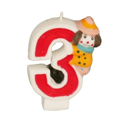 Partytischdecke.de | Zahlenkerze 8 cm  | 3 |  Clown 1 Stück