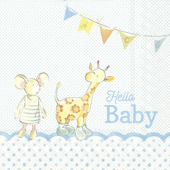 Partytischdecke.de | IHR Serviette 33x33 HELLO BABY light blue