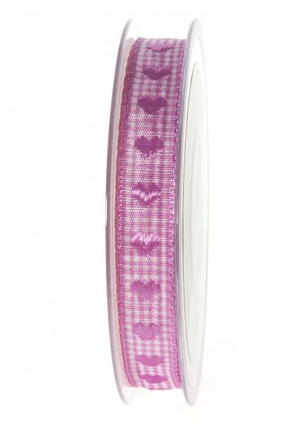 Partytischdecke.de | Band Herzilein VICHY pink 15-mm x 20-m-Rolle