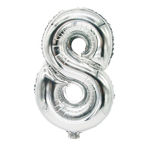 Partytischdecke.de | Folienluftballon 35 cm x 20 cm silber ACHT