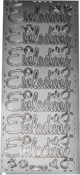 Stickerbogen Einladung silber 1 Stück