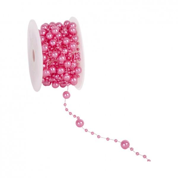 Partytischdecke.de | Perlenband 8 mm x 10 m fuchsia 1 Rolle