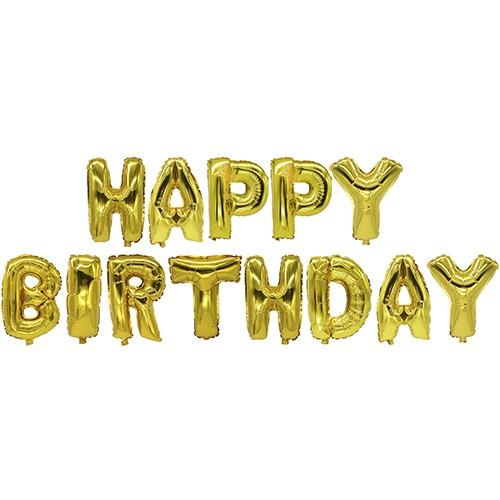 Partytischdecke.de | Folienluftballon 35 cm gold Happy Birthday