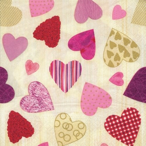 Partytischdecke.de | Serviette 33x33 | Colourful Hearts | 20 Stück