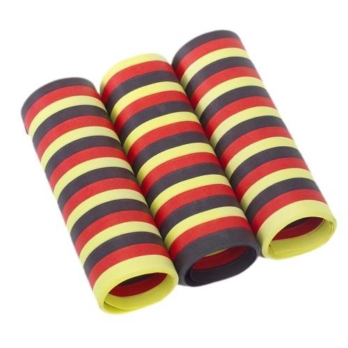 Partytischdecke.de | Luftschlangen 4 m schwarz-rot-gelb 3er Pack