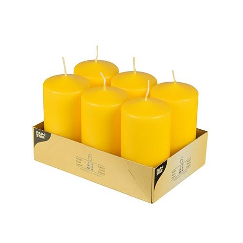 Stumpenkerzen Ø 6 x 11,5 gelb 6er Pack
