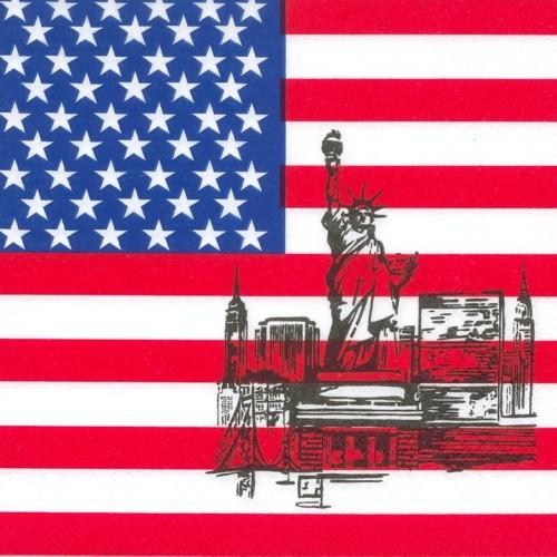 Partytischdecke.de | Servietten 3-lagig 33x33 cm | America | 50 Stück