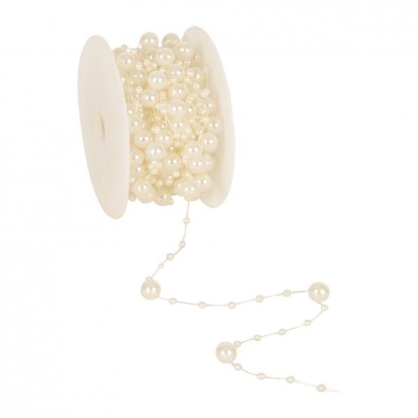 Partytischdecke.de | Perlenband 8 mm x 10 m creme 1 Rolle
