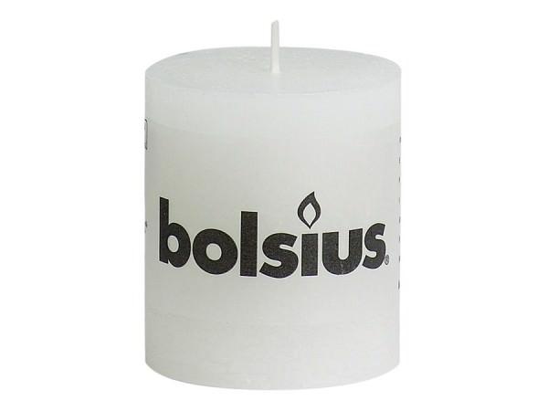 Partytischdecke.de | Kerze Bolsius Rustic Ø 6,8 x 8 cm weiss
