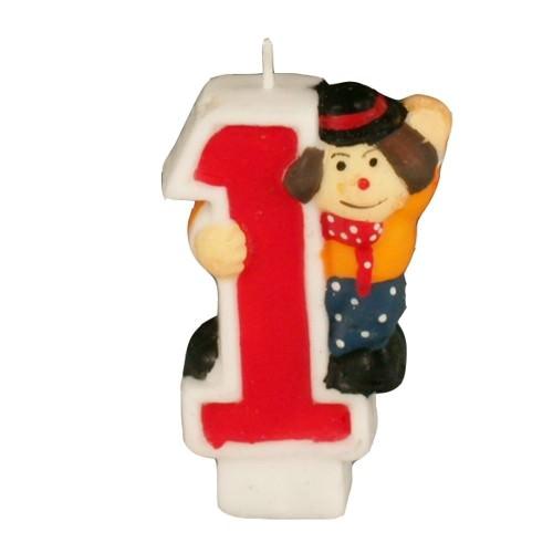 Partytischdecke.de | Zahlenkerze 8 cm  | 1 |  Clown 1 Stück