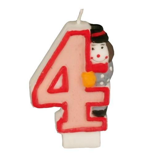 Partytischdecke.de | Zahlenkerze 8 cm  | 4 |  Clown 1 Stück
