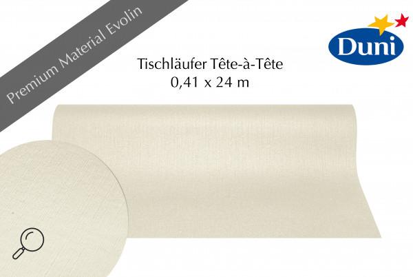 Partytischdecke.de   Tischläufer Duni Evolin Tête-à-Tête 0,41 x 24 m cream