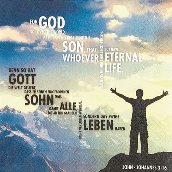 Partytischdecke.de | Servietten 33x33 Johannes Evangelium 3,16