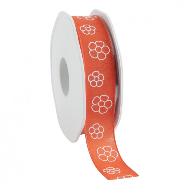 Partytischdecke.de | Satinband Natural Flowers 22 mm x 15 m orange