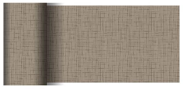 Partytischdecke.de | Tischläufer 15 cm x 20 m Dunicel Linnea greige