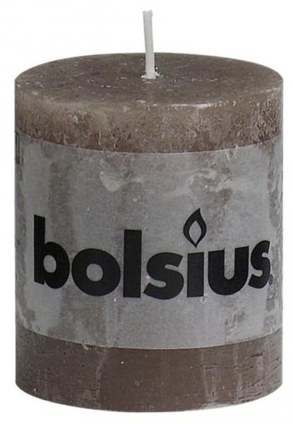 Partytischdecke.de | Kerze Bolsius Rustic Ø 6,8 x 8 cm taupe