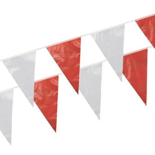 Partytischdecke.de | Wimpelkette 10 m rot-weiss 1 Stück