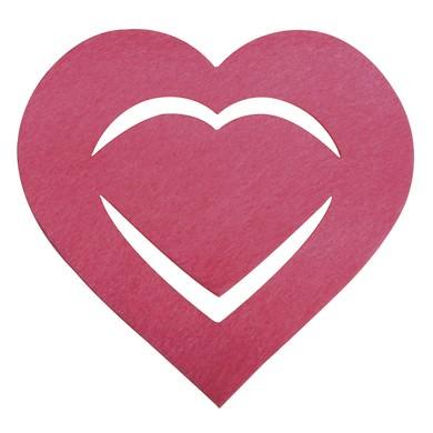 Partytischdecke.de | Filz Manschette Herz für Servietten pink 6 Stück