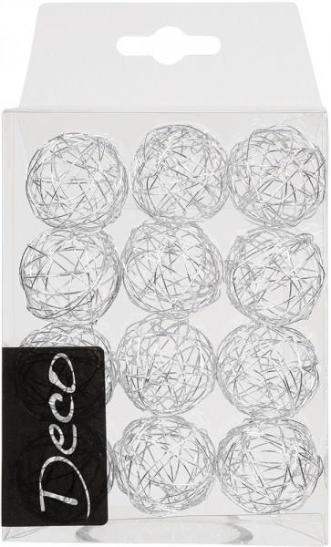 Drahtbälle 30 mm silber in Klarsichtbox 12 Stück