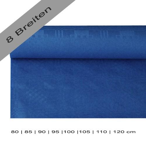 Partytischdecke.de | Papiertischdecke Damastprägung 8 lfm dunkelblau