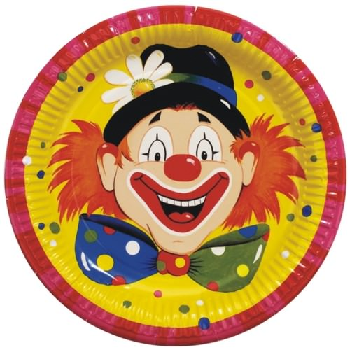 Partytischdecke.de | 10 Pappteller Ø 23 cm | Clowngesicht |