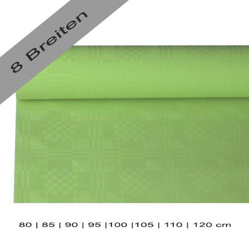Partytischdecke.de | Papiertischdecke Damastprägung 8 lfm olivegrün