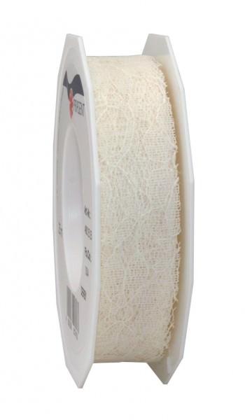 Spitzenband Derby creme 25 mm x 25 m Rolle